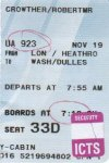 Plane ticket, outward bound